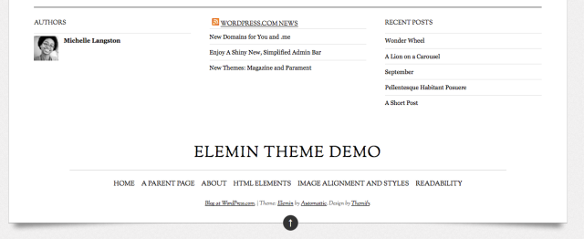 Elemin Footer Widgets and Menu