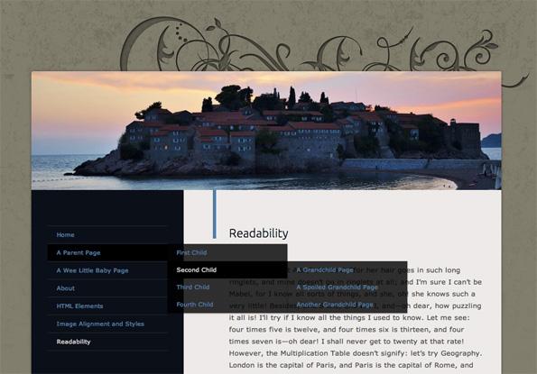 with custom header and menu