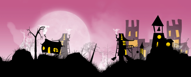 A cluster of whimsical, crooked little houses are covered in a blanket of fog beneath the watchful eye of a full moon.