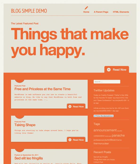 blog simple 595 orange wordpress themes at. Black Bedroom Furniture Sets. Home Design Ideas