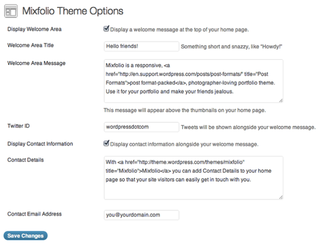 Mixfolio: Theme Options