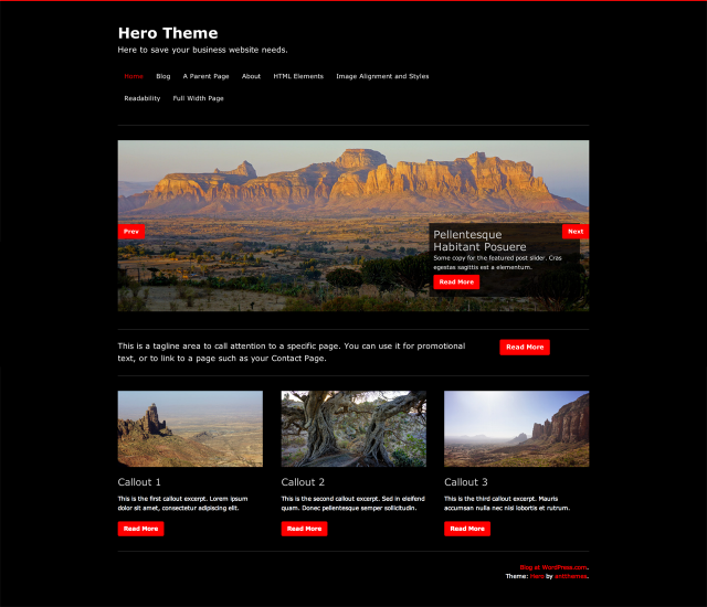 Hero's Front Page template with Featured Post Slider, tagline area, and three post callout areas.