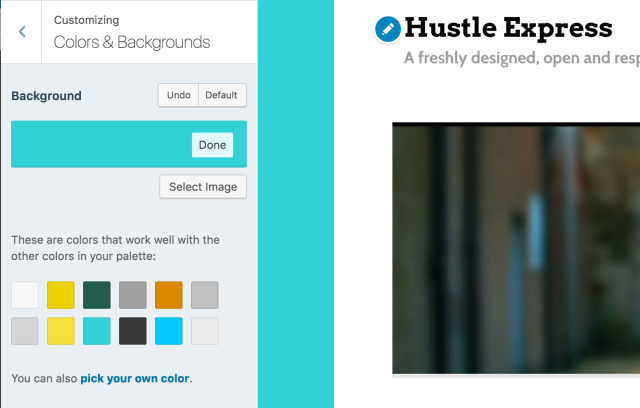 Select custom background on Hustle Express