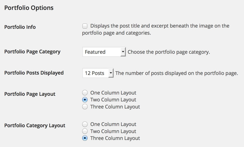 Choose your layout and Portfolio option in the Theme Options.