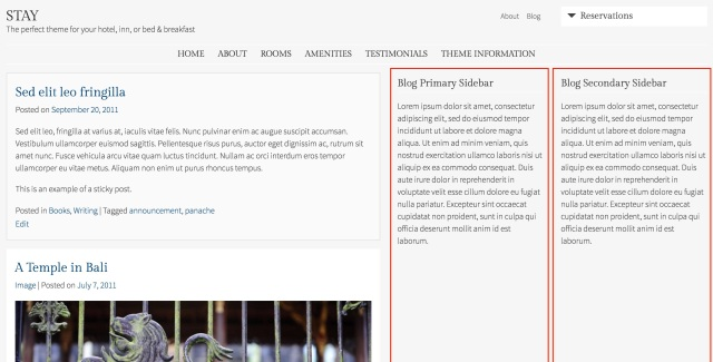 Blog Sidebar widget areas