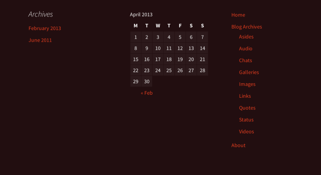 Example of footer widget display.