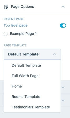 Stay Page Templates dropdown
