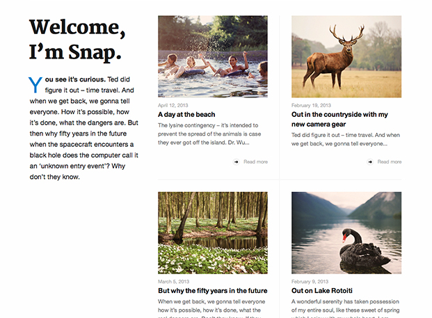 Snap home page