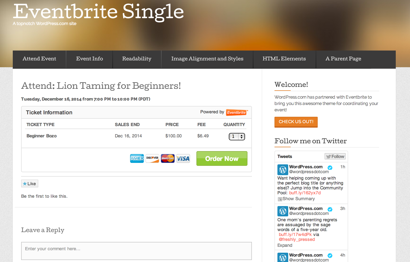 Eventbrite Single Event Theme — WordPress.com