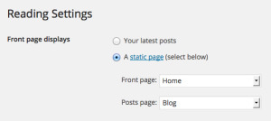 WordPress.com Reading settings.