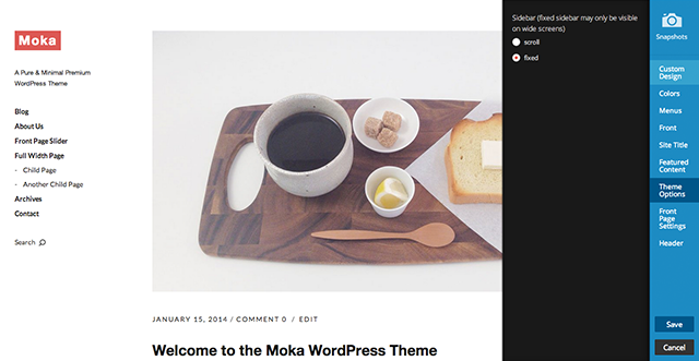 The Moka Theme Customizer