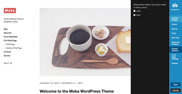 The Moka Theme Customizer