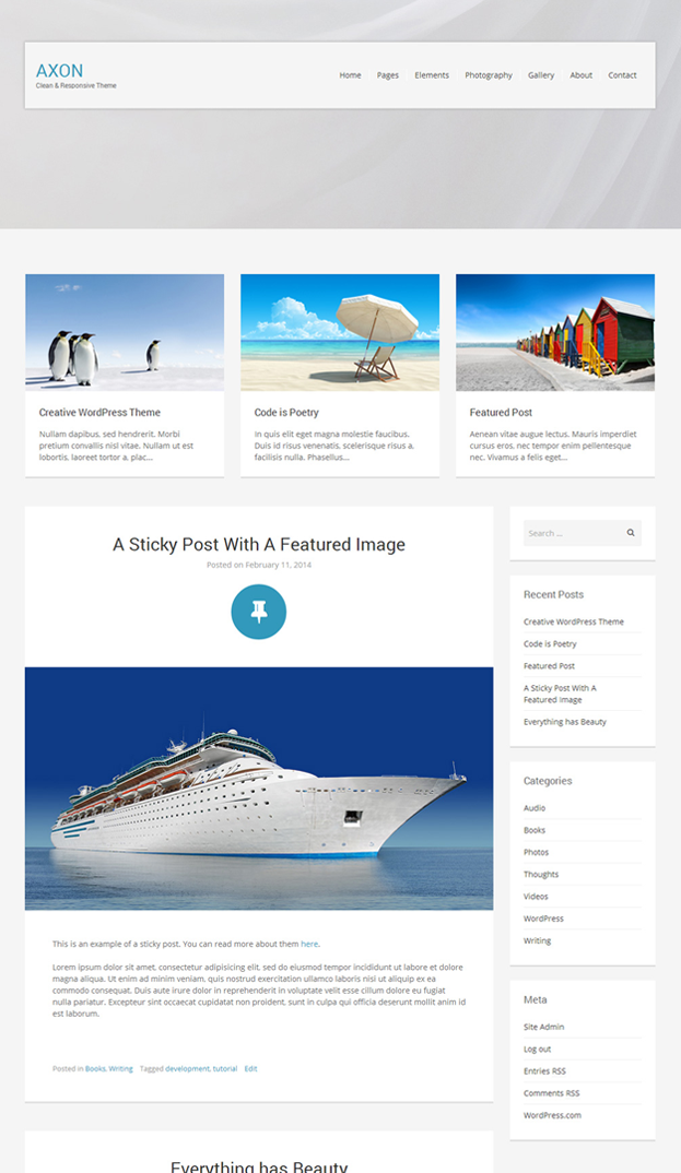 Axon WordPress Blog Theme