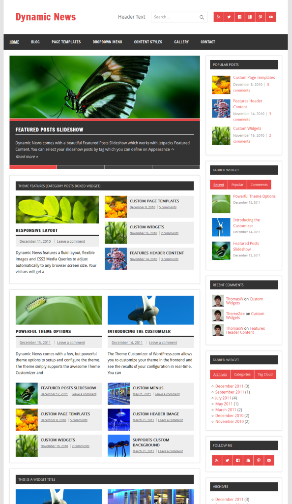 Dynamic News Professional WordPress Theme By Jetpack - Website front page template