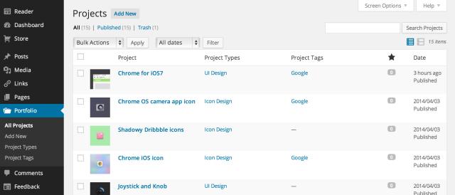 Portfolio Content Type Admin Screen