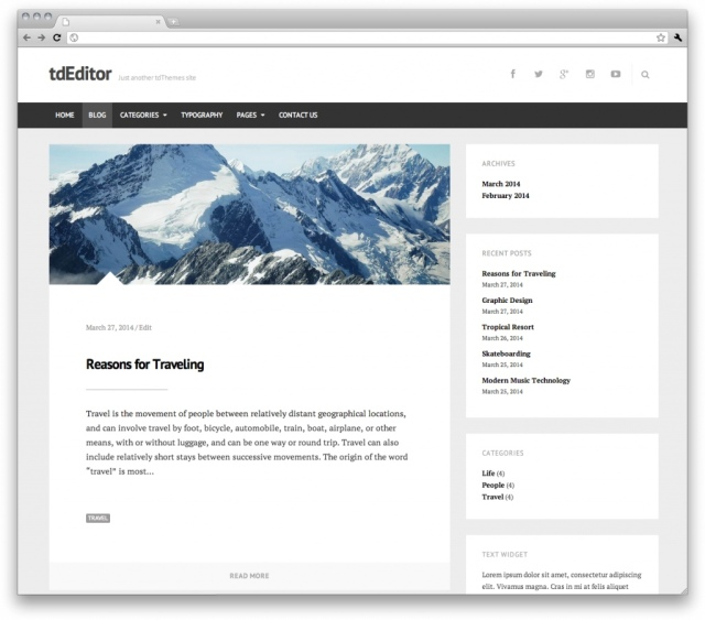 tdEditor Blog One Columns with a sidebar
