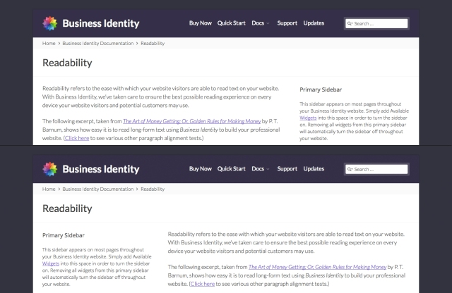 Business Identity Sidebar Demo