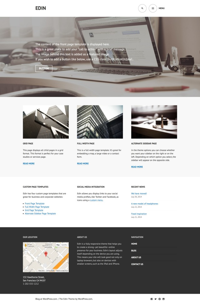 Edin: Front Page Template