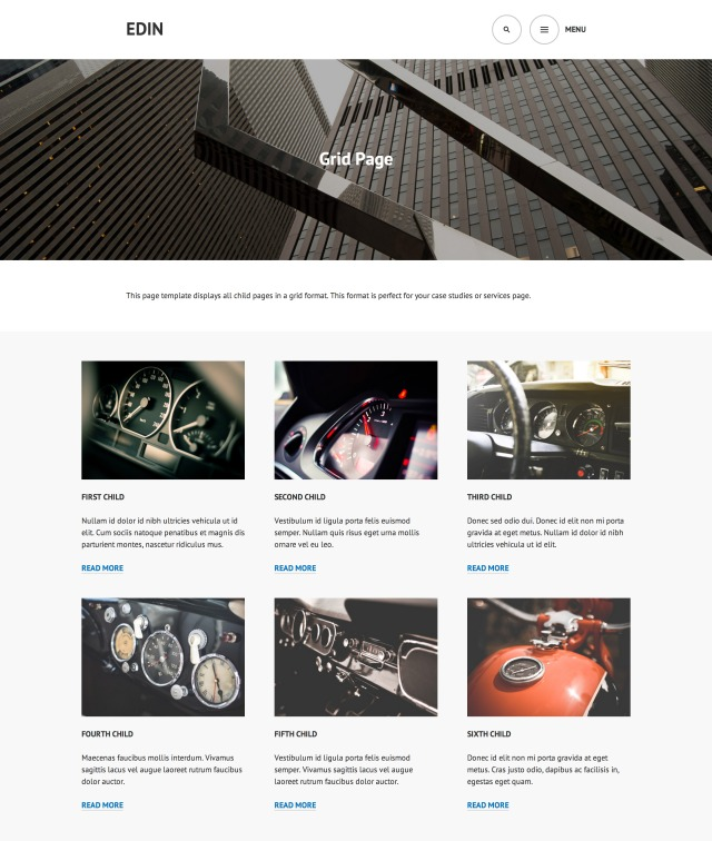 Edin: Grid Page Template