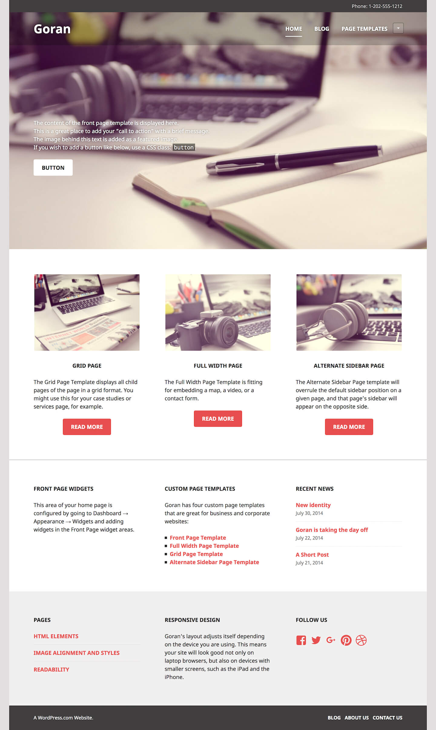 Goran theme wordpress open live demo pronofoot35fo Images