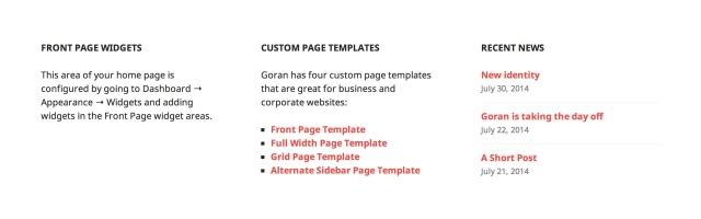 Goran: Front Page Widget Area