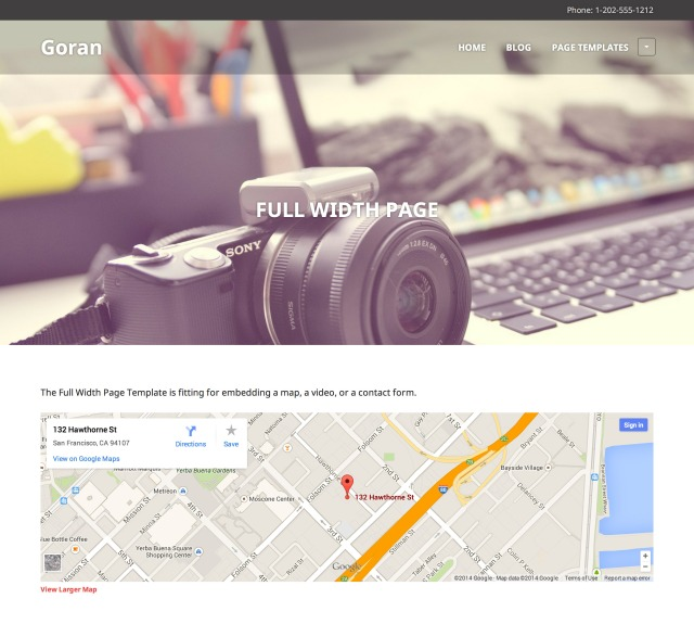 Goran: Full Width Page Template
