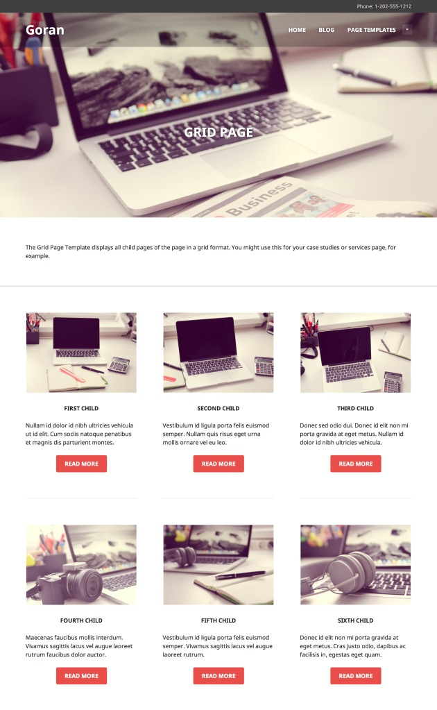 Goran: Grid Page Template