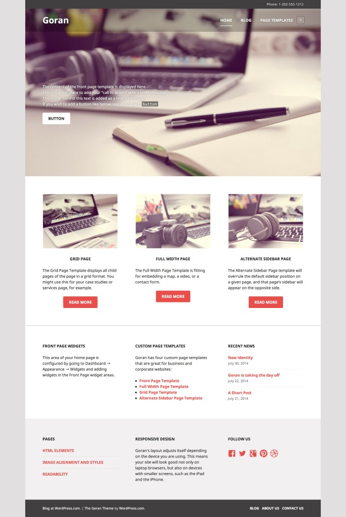project front page design templates