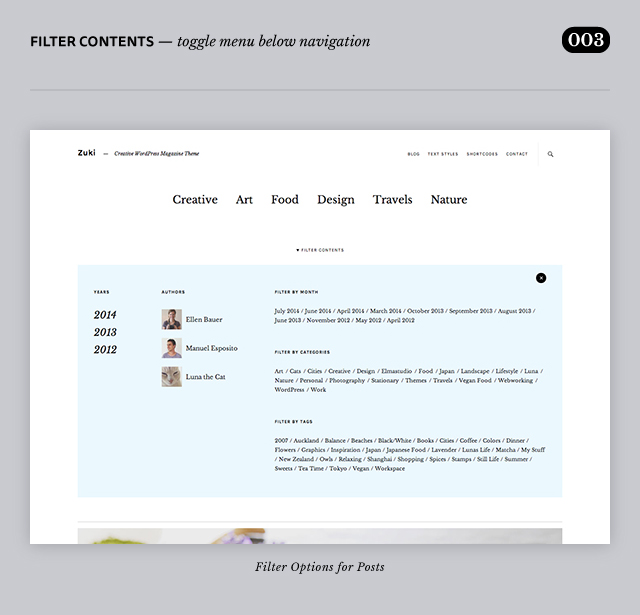 Zuki WordPress Theme Header Area