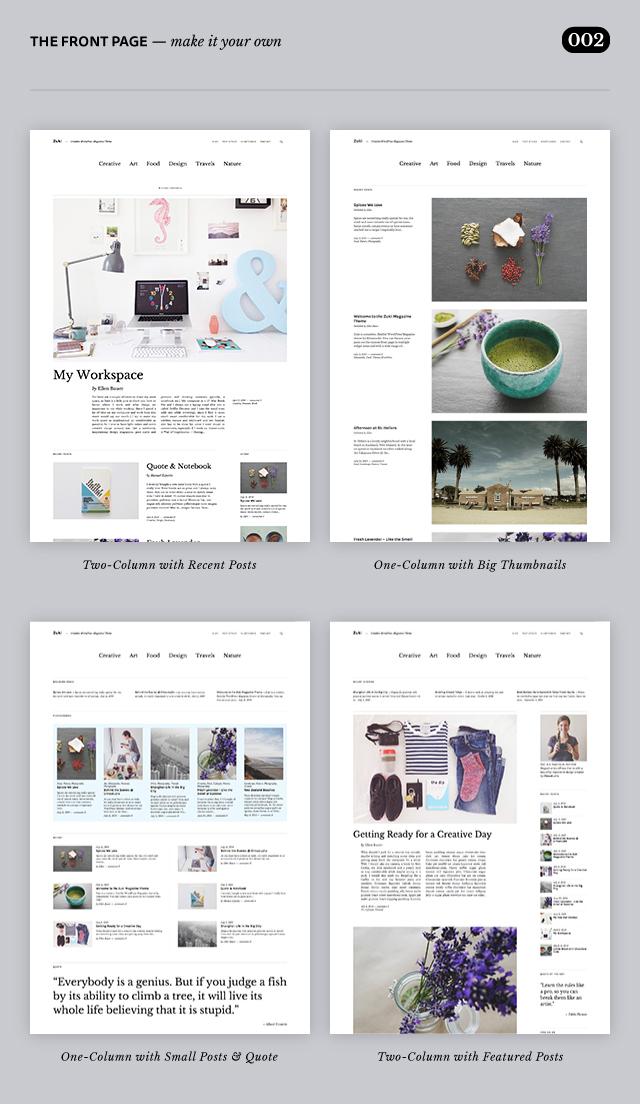Zuki WordPress Theme Front Page