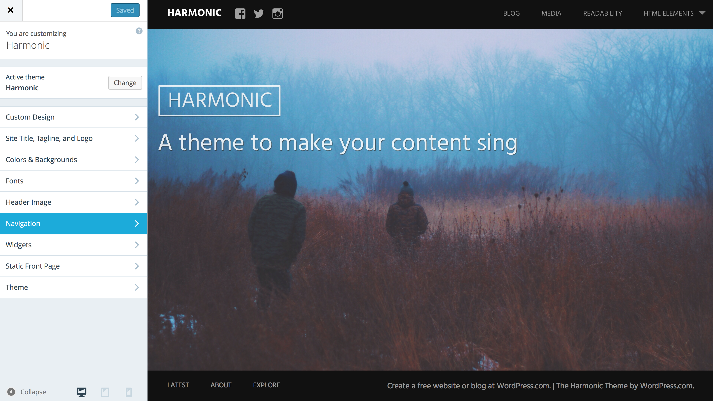 harmonic theme wordpress themes for at wordpress com harmonic customizer