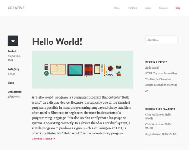 Creative Theme - Blog layout
