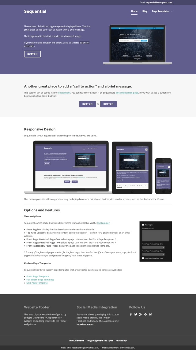 Sequential Professional WordPress Theme By Jetpack - Website front page template