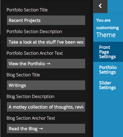 Creative-Front Page Settings