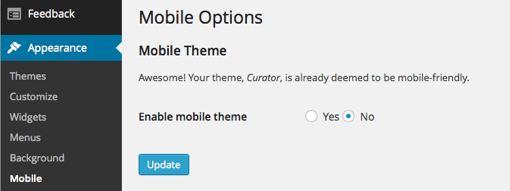 Mobile Options in Curator's WordPress Dashboard