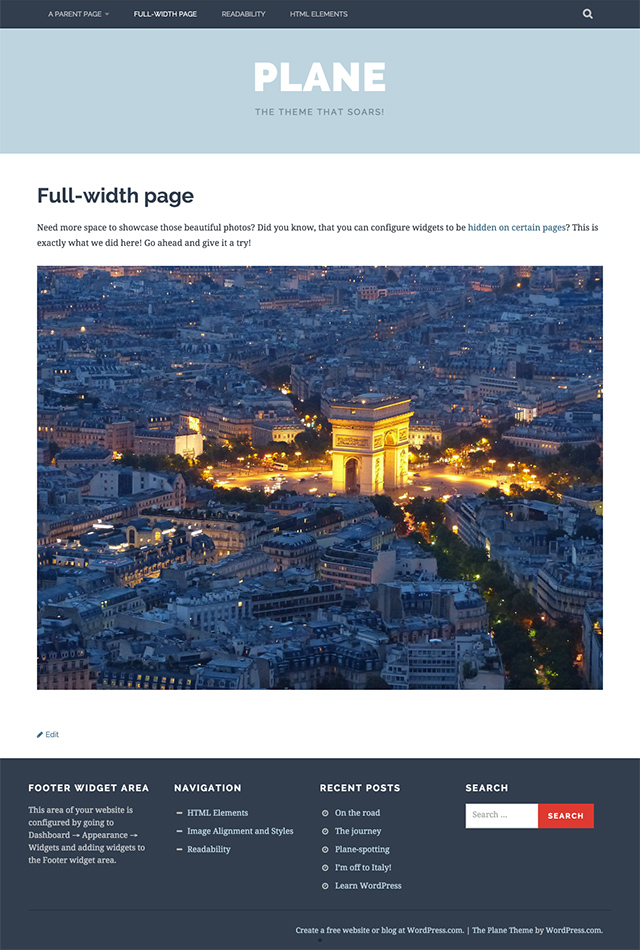 Plane - Full-width page