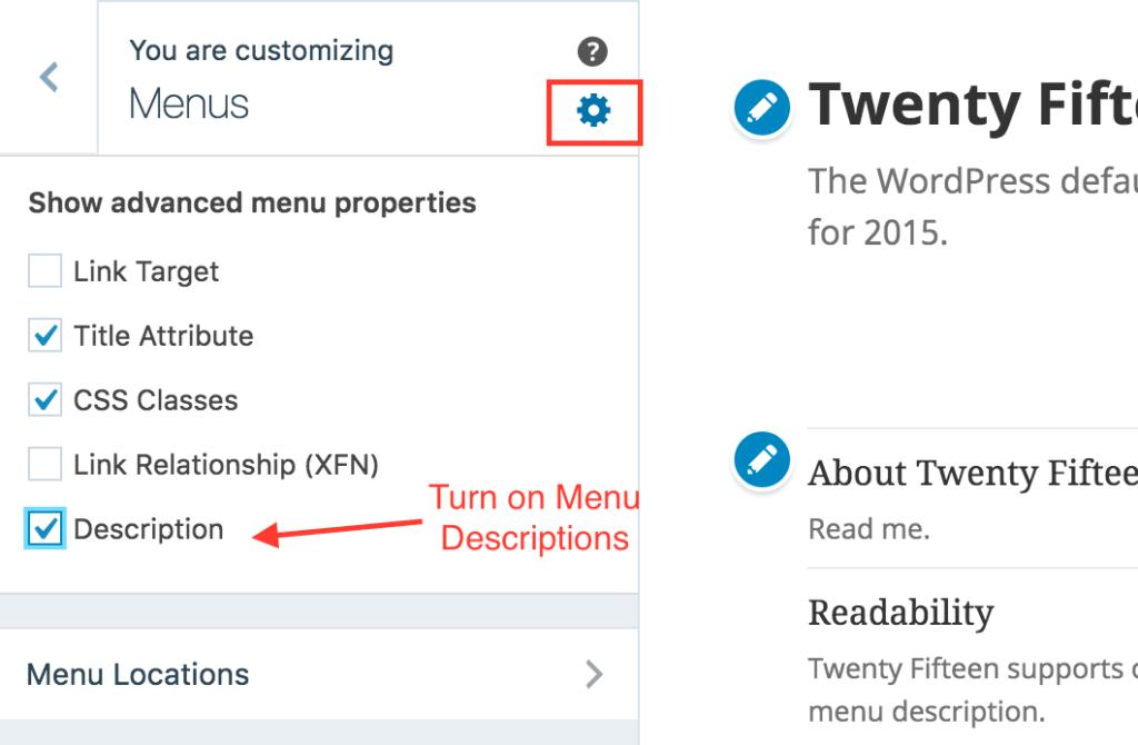 Turn on menu descriptions