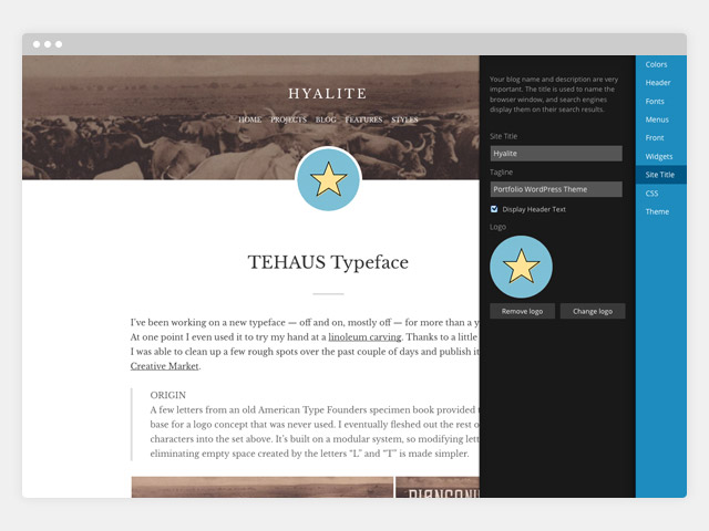 Hyalite: Customize
