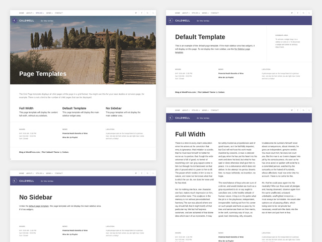 Caldwell: Page templates