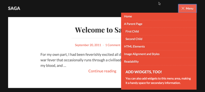 Saga's menu and widget area