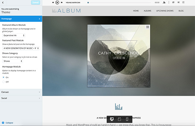 Album - Homepage options