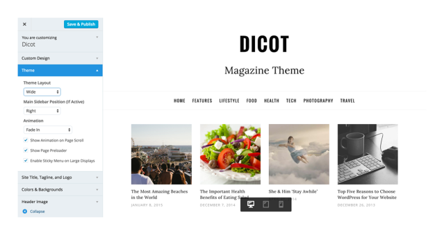 Customizer Dicot WordPress Theme
