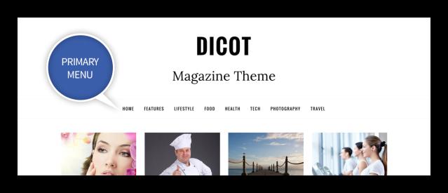 Primary Menu Dicot WordPress Theme