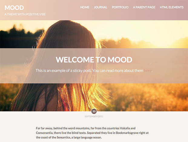 Mood Theme - Full-Width Featured Image