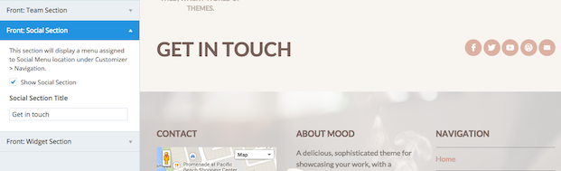 Mood Theme - Front Social Section