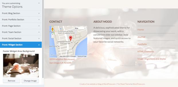 Mood Theme - Front Widget Area