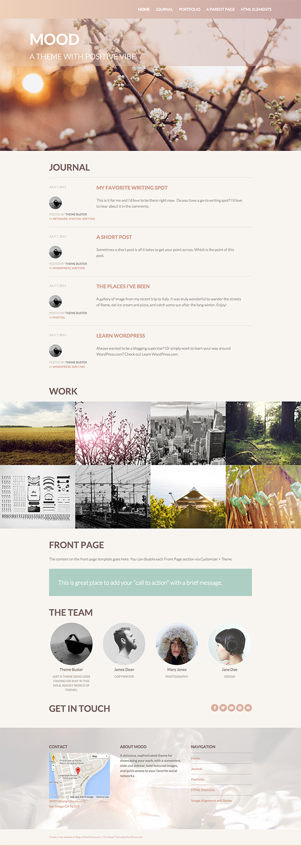 Mood Theme - Front Page Template