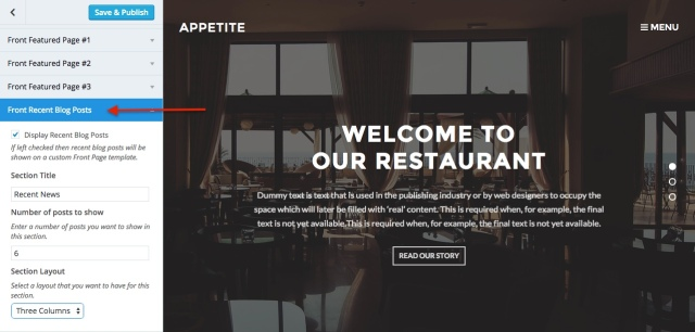 Appetite: customize_home_posts