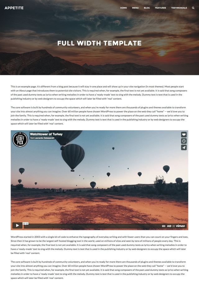 Appetite: Full Width Page