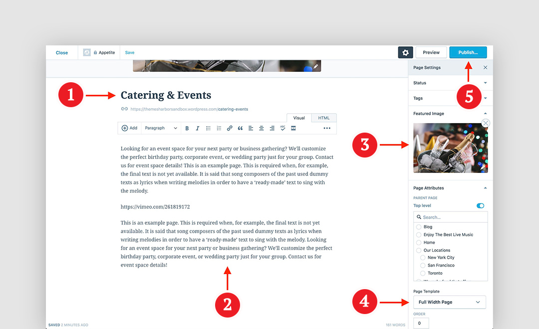 Appetite theme wordpress create or edit a page and assign it to the full width page template from the page attributes box maxwellsz